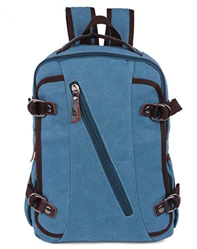 &ZHOU Borsa di tela, Borsa a tracolla uomini e donne capiente borsa zainetto casual classico tela sport borsa del computer , black Blue