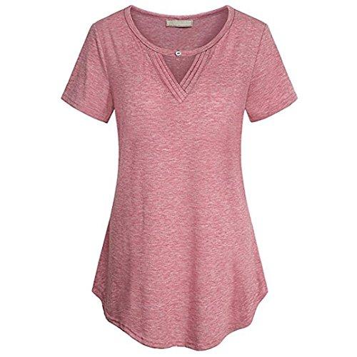 MRULIC Neu Damen Rundhals Geripptes Sleeve Casual Falten Kurzarm T-Shirt mit Stretch Top(W-Pink,EU-42/CN-L)