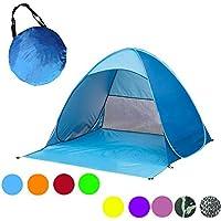 Huatuo® automatica Pop Up portatile esterni Cabana Beach protezione UV Tenda riparo istantanea, Parasole per 2–3adulti, Blue - Canopy Toddler Crib