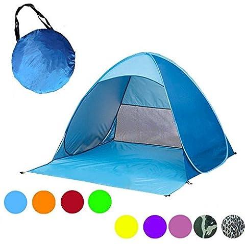 huatuo® Automatique instantané Pop Up Portable extérieur Cabana Tente de plage Protection UV, Pare-Soleil pour 2–3 adultes (Bleu)