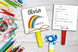 SET 6 stück Regenbogen Einladung Kindergeburtstag inkl. Party Tröte