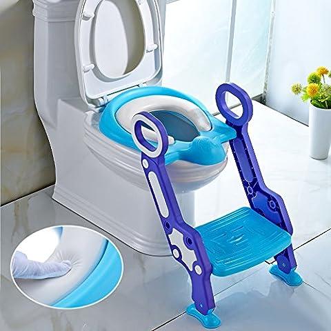 AuraLum banale del bambino seggiolino igienici Trainer con pieghevole Scale bambini igienici Learning Vasi Lid- Blu