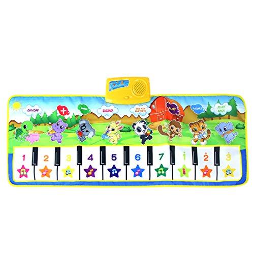 Lommer Musik Spielzeug, 100x40CM Kinder Musik Klavier Matte Musikmatte Tanzmatten Musikteppich Keyboard Teppich Musikinstrumente mit Licht Effekt für Kinder Kleinkind, Baby 2, 3 Jahre
