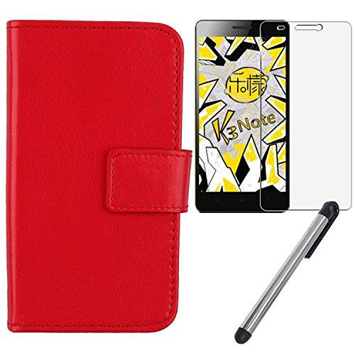 "Gukas 3in1 Set Rojo Design PU Cuero Case Para Lenovo K3 Note K50-T5 5.5"" Billetera Funda De Carcasa Cartera Cover Piel Con Lápiz Táctil Touch Pen Stylus Templado Shatterproof Protector de Pantalla Vidrio"