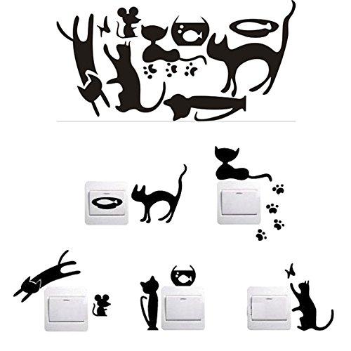 Demarkt Lichtschaltersticker Lichtschalteraufkleber Lichtschaltertattoo Wandbild Katze Fisch Maus