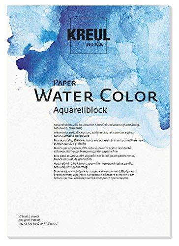KREUL 69012 - Paper Water Color, Aquarellblock, DIN A3, 10 Blatt