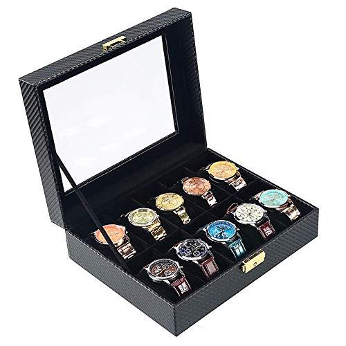 DOSNVG Kohlenstoff Faser Uhrensammler Box, 4/6/10/12 Grid Leder Uhren Aufbewahrungsvitrine Mit Glas Metallverschluss Ideal Für Männer Frauen, 10 Slots