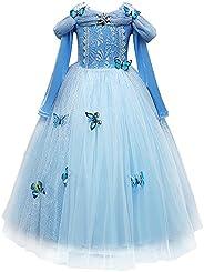 OBEEII Cenicienta Disfraz Cinderella Carnaval Traje de Princesa para Halloween Navidad Fiesta Cosplay Costume