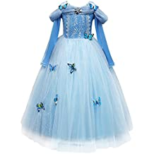 IWEMEK Disfraz de Carnaval Vestido de Mariposas Cenicienta para Niñas Traje  de Princesa Manga Larga Disfraces a5c47674470