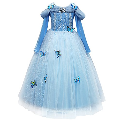 OBEEII Cinderella Kostüm Kinder Aschenputtel Prinzessin Kleid Mädchen Grimms Märchen Verkleidung Karneval Faschingskostüm Cosplay Party Halloween Festkleid 4-5 - Märchen Party Kostüm