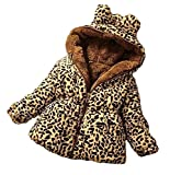 Emin 2-10 Jahre Kids Kinder Jacke Mit Pelzkragen Mädchen Plüschjacke Mantel Parka Oberbekleidung Winter Winterjacke Jacket Baby Verdickte Pelz Winter Warm Infant Mantel Fellimitat Leopard