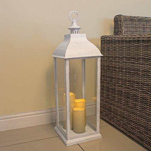 Anika–66980Natural parpadeo 3vela funciona con pilas decorativo LED farol luz, cristal, transparente, 71cm