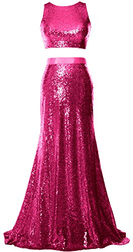 MACloth Mermaid 2 Piece Prom Dress Crop Top Sequin Formal Party Evening Gown Fuchsia