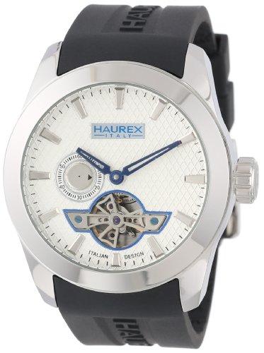Haurex CA501USN - Orologio da polso da uomo, cinturino in argento colore nero