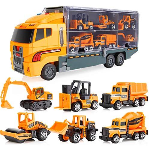 DingLong Transporter Autotransporter Transport Auto Carrier Truck Pädagogische Fahrzeuge Spielzeugauto Kinder Geschenk (Gelb)