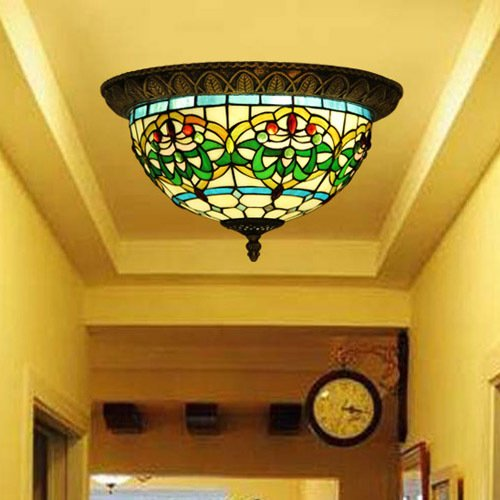 Deckenleuchte Glasmalerei (Tiffany Grune dekorative Muster Glasmalerei Deckenleuchten 2 Birnen)