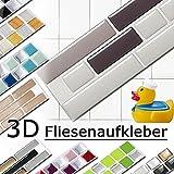 4er Set 28,6 x 5,4 cm verschiedene Grautöne Fliesenaufkleber Design 5 I Mosaik 3D Aufkleber Küche Bad Fliesendekor selbstklebend Grandora W5288