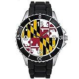 Maryland États-Unis Drapeau Pays - Montre Unisex - Bracelet Silicone Noir
