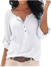 Minetom Femmes D'Été Chic Casual Col V Manches Longues Pliant 3/4 Tunique Blouse Chemise Top Haut T-Shirt Mode Vetements