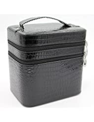 HOYOFO Large Double Layer Beauty Makeup Box Sturdy Leather Cosmetic Storage Cases,Black