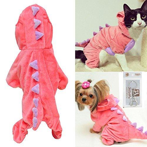 Pet Plüsch Outfit Dinosaurier Kostüm mit Kapuze für Kleine Hunde & Katzen Jumpsuit Winter Coat Warm Kleidung, X-Large, Rose
