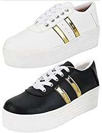 STYLIVO Combo Pack Of 2 White & Black Gold Sneaker Shoes For Women