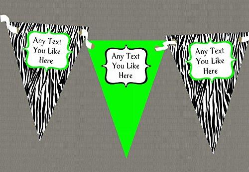 Zebra Print & Lime Green Personalised Birthday Party-Striscione con bandierine, decorazione, verde, Grande - Green Zebra Animal Print