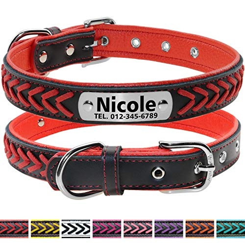 Vcalabashor Cuero collar de perro personalizado
