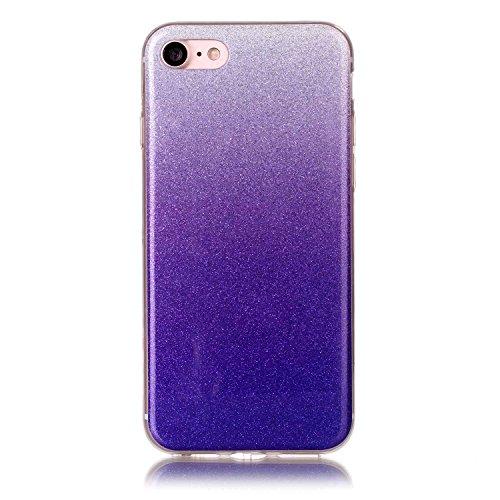 iPhone 7 Hülle Weiches Silikon Glitzer Schutzhülle Tasche Case,Hochwertig Leicht Gummi Schutz Hoch Handyhüllen Schale Etui,Herzzer Modisch Luxus Silikon Bunt Hülle [Farbverlauf Gradient Farbe] Regenbo Lila