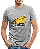 Spreadshirt Dönertier Männer Premium T-Shirt, S, Grau meliert