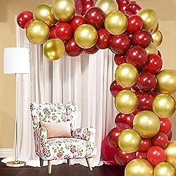 SPECOOL 50 Stück Rot und Gold Luftballons, 2020 Silvester Partydekorationen Rubinrote Luftballons und Gold Metallic Luftballons für Geburtstag, Hochzeit, Burgund Partydekorationen
