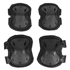 KT SUPPLY Set di 4 pezzi Ginocchiere e Gomitiere Tattica Ginocchiere Protective Gear-Set da Softair per Ragazzi e Adulti, Nero