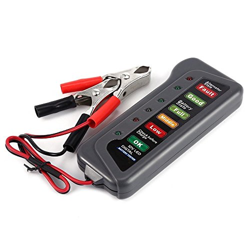 Lukuki 12V Car Motorcycle Digital Battery Alternator Tester 6 LED Display Battery...