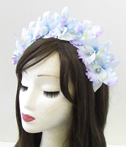 Bleu pastel Orchidée Fleur Headband Couronne de cheveux Festival Boho Argent Guirlande 696 * exclusivement Vendu par Starcrossed Beauty *