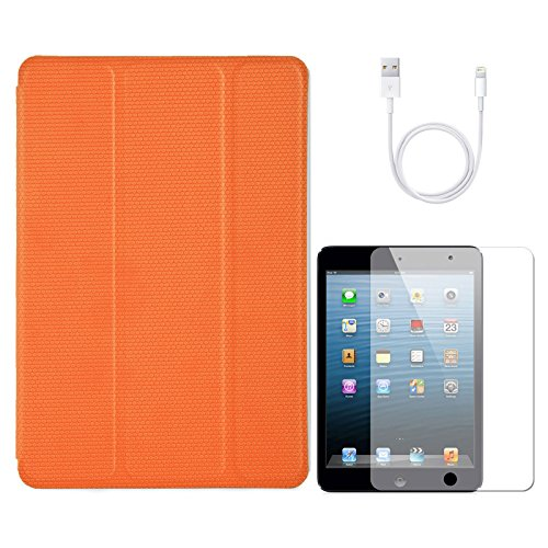 VanGoddy VG Ultra Thin Protective Smart Case Cover with Sleep Mode and Stand for Apple iPad Mini (Orange) + Data Cable + Matte Screen