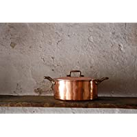 Bottega Donnini Kupfertopf Made in Italy, Copper pot 2 brass handles and Lid, from 20 to 30 cm diameter