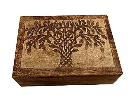 Icrafts Arbre de vie en bois sculpté Boîte à bijoux en bois souvenir Boîte à bijoux de stockage