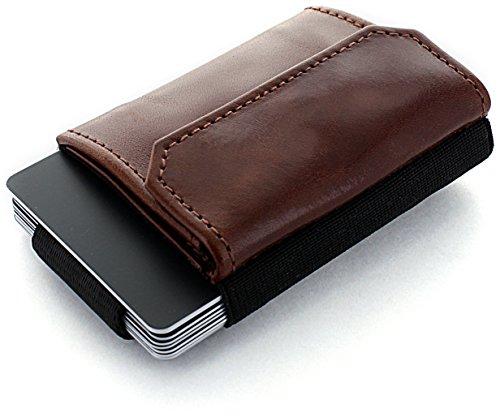 JAIMIE JACOBS Minimalist Wallet Nano Boy Pocket Mini Wallet Kreditkartenetui Mini Geldbörse Textil kleiner Geldbeutel schmaler Kartenhalter Mini-Portemonee Herren und Damen Dunkelbraun