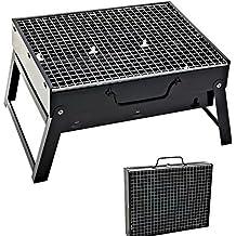 Sunjas Asador Portátil Caja de Barbacoa al Aire Libre Parrillada de Acero Inoxidable - Color Negro (35×27×20cm)