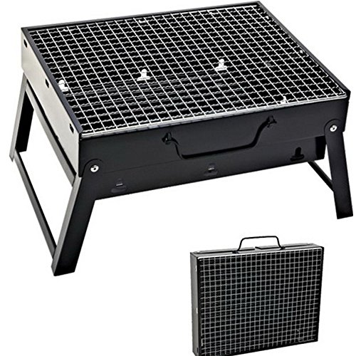 51jcr2W BKL - Sunjas Campinggrill, Faltbare BBQ Holzkohlegrill, Outdoor Reisegrill, Tischgrill, Mini Grill für Picknick Party Barbecue (Holzkohlegrill mit Elektro Ventilator)