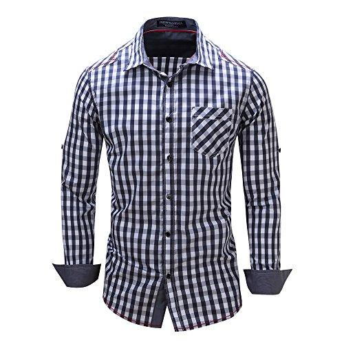 Tops Herren,TWBB Freizeit Männer Cowboy Gitter Oberteile O-Ausschnitt Shirt Lange Slim Ärmel Schlank Hemd Bluse Persönlichkeit Sweatshirts