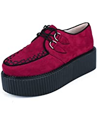38fdcce93d79a RoseG Femmes Lacets Plate Forme Gothique Punk Creepers Casual Chaussures