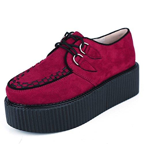 RoseG Damen Schnürschuhe Flache Plateauschuhe Gote Punk Creepers Schuhe Rot Size38