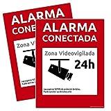 alarmaszoom Carteles RIGIDOS Pegatinas Vinilo DE Cartel Alarma CONECTADA DISUASORIOS Zona VIGILADA 24H Camara Color Rojo 24 Horas VIDEOVIGILADA Video DISUASORIOS Adhesivo