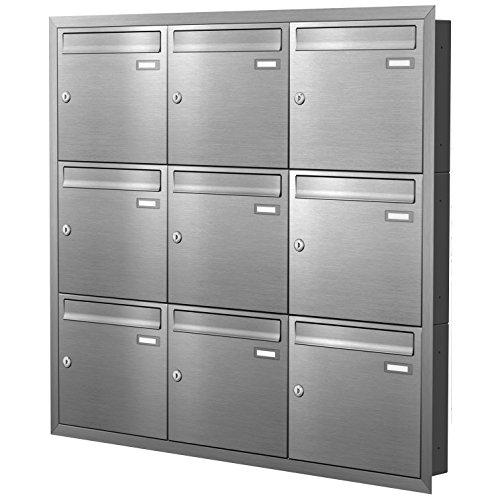 Max Knobloch Unterputz-Briefkastenanlage Express Box UP90-110-E Edelstahl (9 x 12 Liter)