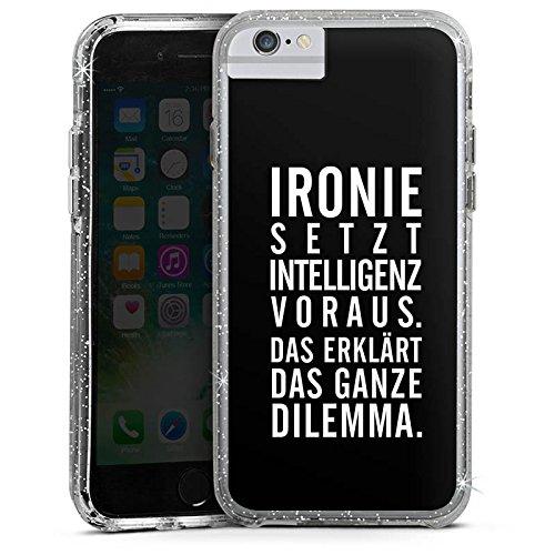 Apple iPhone 7 Bumper Hülle Bumper Case Glitzer Hülle Ironie Humor Intelligenz Bumper Case Glitzer silber