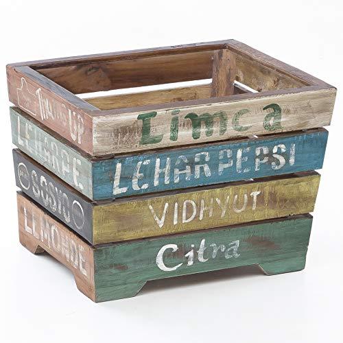 FineBuy Design Holzkiste SARUT 40 x 35 x 45 cm Kiste Holz groß Beistelltisch | Holzbox Vintage Dekobox | Mango Massivholz Aufbewahrungskiste | Holz Box Shabby chic bunt