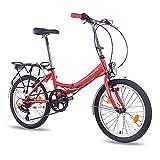 CHRISSON 20 Zoll Faltrad Klapprad - Foldo rot - Faltfahrrad für Herren und Damen - 20 Zoll klappbares Fahrrad mit 6 Gang Shimano Kettenschaltung - Folding City Bike