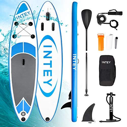 INTEY Stand Up Paddle Board Gonflable, Sup Planche 305×76×15cm en PVC Construction Ultra Robuste, Kit avec Pagaie, Pompe à Double Action, Sac à Dos, Boîte de réparation, Leash, Aileron