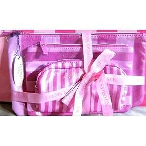 Victoria's Secret Pink Stirpe Signature 3 piece Cosmetic Bag
